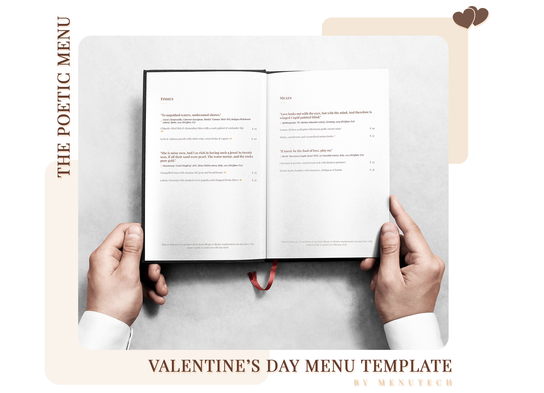 Menutech Valentine's Day poetic menu